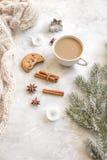 Вечер рождества с чашкой взгляд сверху предпосылки какао белого Стоковые Изображения RF