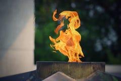 Вечное пламя горит в памяти о миллионах советских солдат Стоковые Изображения