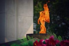 Вечное пламя горит в памяти о миллионах советских солдат Стоковое Фото