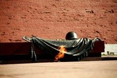 Вечное пламя около усыпальницы неизвестного солдата в Москве, России Стоковое Изображение RF
