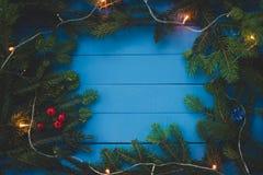 Вечнозеленая ветвь с светом рождества на голубых досках стоковые изображения rf