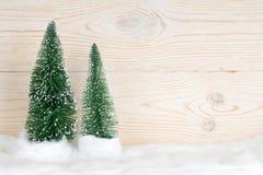 2 вечнозеленых ели, снежный состав рождества Стоковая Фотография RF