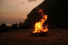 Вечный огонь на пляже стоковое изображение rf