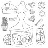 Вещи вектора сладостные в стиле doodle на белой предпосылке иллюстрация вектора