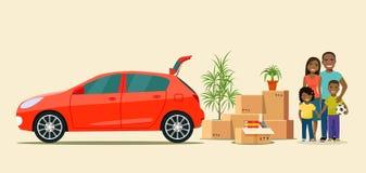 Вещи в коробке рядом с хоботом автомобиля Двигать с коробками Счастливая афро американская семья бесплатная иллюстрация