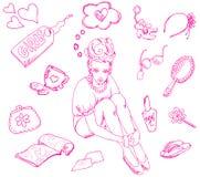 вещи девушки s иллюстрация вектора