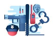 Вещи оружие и наручники полиции Стоковое фото RF