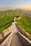Великая Китайская Стена во время захода солнца Стоковое Фото