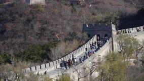 Великая Китайская Стена в осени, инженерстве обороны Китая старом сток-видео
