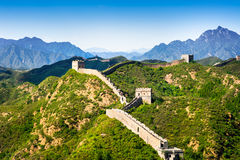 Великая Китайская Стена Китая в летнем дне, разделе Jinshanling, Пекине Стоковые Изображения