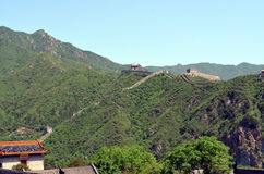 Великая Китайская Стена Китая и гор стоковое фото rf