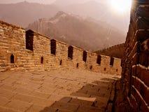 Великая Китайская Стена с sunflare Стоковые Изображения