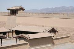 Великая Китайская Стена Jia Yu Guan западная, шелковый путь Китай Стоковое Изображение RF