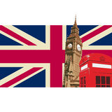 Великобритания с флагом большого Бен Стоковые Фотографии RF
