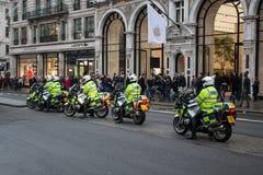 Великобританская полиция на мотоциклах в Лондоне Стоковое Изображение