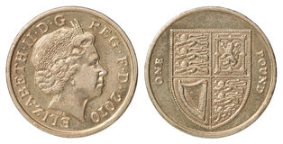 великобританский фунт монетки Стоковые Фото