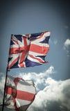 Великобританский флаг Юниона Джек дуя в ветре Стоковая Фотография