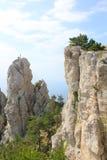 Величественные горы против неба и моря Стоковое Изображение RF