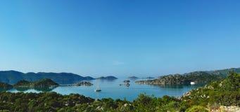 Величественный панорамный взгляд острова Kekova и Kalekoy, Demre Стоковая Фотография RF