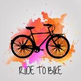 Велосипед акварели Стоковое Изображение
