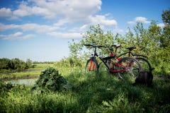 2 велосипеда на зеленом луге с рюкзаком Стоковое фото RF