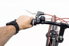 велосипед велосипед перспектива горы рук пущи фокуса поля глубины велосипедиста отмелая Стоковая Фотография