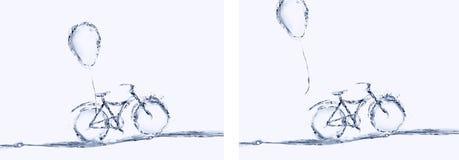 Велосипед воды и коллаж воздушного шара стоковое изображение rf