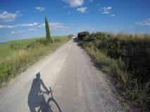 Велосипед гравия вокруг Сиены стоковое фото