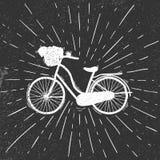 Велосипед женщины в стиле grunge Стоковое Изображение