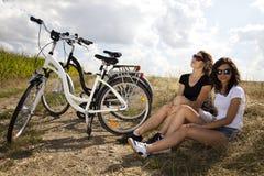 Велосипед женщины Стоковые Изображения RF