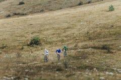3 велосипедиста всадников на mountainbike едут долина в горах Стоковые Фото