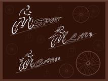 велосипедисты Велосипеды для различных целей Велосипед людей и женщин спорт 3-катят велосипед груза вектор Стоковая Фотография