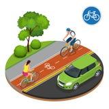 Велосипедисты в городе Задействовать на пути велосипеда Всадники дорожного знака и велосипеда велосипеда Иллюстрация плоского век Стоковое Фото