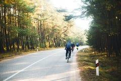 Велосипедисты на дороге леса Стоковое Фото
