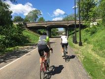 Велосипедисты на пути велосипеда стоковое фото rf