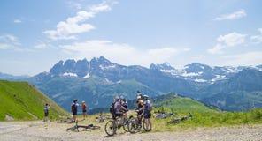 Велосипедисты на следе в швейцарских Альпах Стоковая Фотография RF