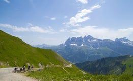 Велосипедисты на следе в швейцарских Альпах Стоковое Изображение RF