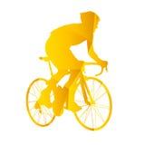 Велосипедисты дороги силуэта вектора Стоковая Фотография