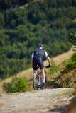 Велосипедист горы на следах Стоковое Фото