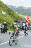 Велосипедист Джин-Марк Marino на Col de Peyresourde - путешествуйте de Fra стоковая фотография