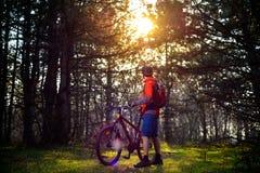 Велосипедист ехать велосипед на следе в красивой Fairy концепции приключения и перемещения соснового леса Стоковое фото RF