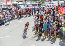 Велосипедист Майкл Schar на Col du Glandon - Тур-де-Франс 201 стоковое фото