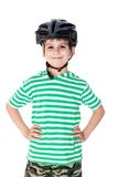 Велосипедист мальчика с шлемом Стоковые Фото