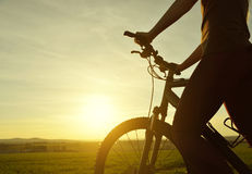 Велосипедист на велосипеде в заходе солнца Стоковое Фото