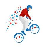 Велосипедист BMX изолированный на белой предпосылке Стоковое фото RF