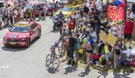 Велосипедист Joaquim Родригес на Col du Glandon - Тур-де-Франс Стоковое фото RF