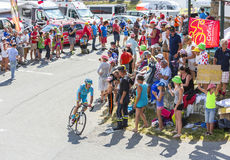 Велосипедист Lieuwe Westra на Col du Glandon - Тур-де-Франс 20 стоковое фото