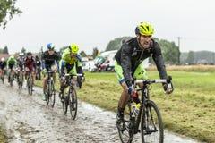 Велосипедист Matteo Tosatto на мощенной булыжником дороге - Тур-де-Франс 20 Стоковая Фотография