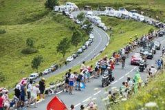 Велосипедист Vasili Kiryienka на Col de Peyresourde стоковые фотографии rf