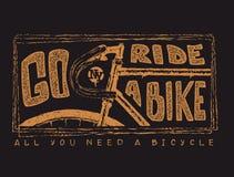 Велосипед и литерность нарисованные рукой винтажные Иллюстрация вектора